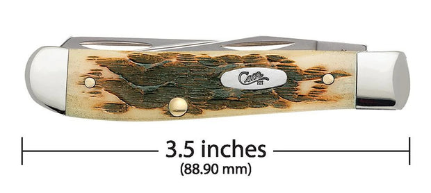 Amber Bone Peach Seed Jig Mini Trapper Pocket Knife