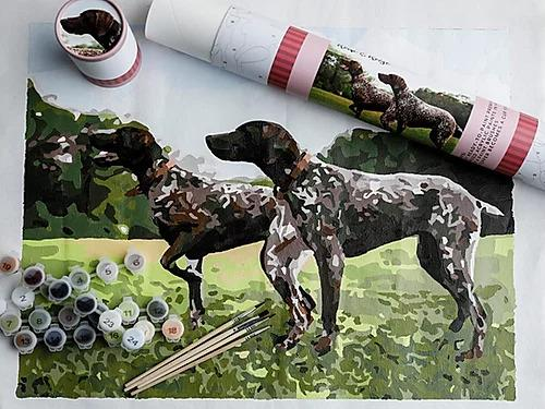 Paint by Numbers Canvas Kit - Remi and Reese Dog Scene
