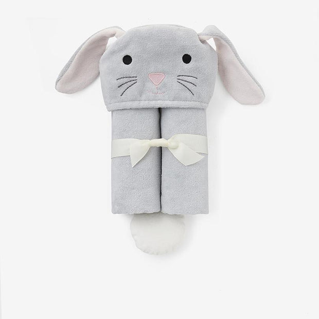 Gray Bunny Hooded Baby Bath Wrap