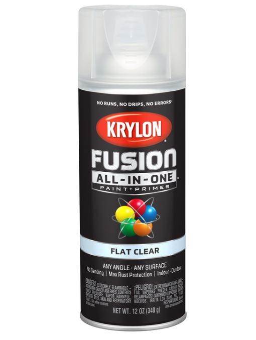 Krylon Fusion All-In-One Flat Clear Paint + Primer Spray Paint 12 oz.