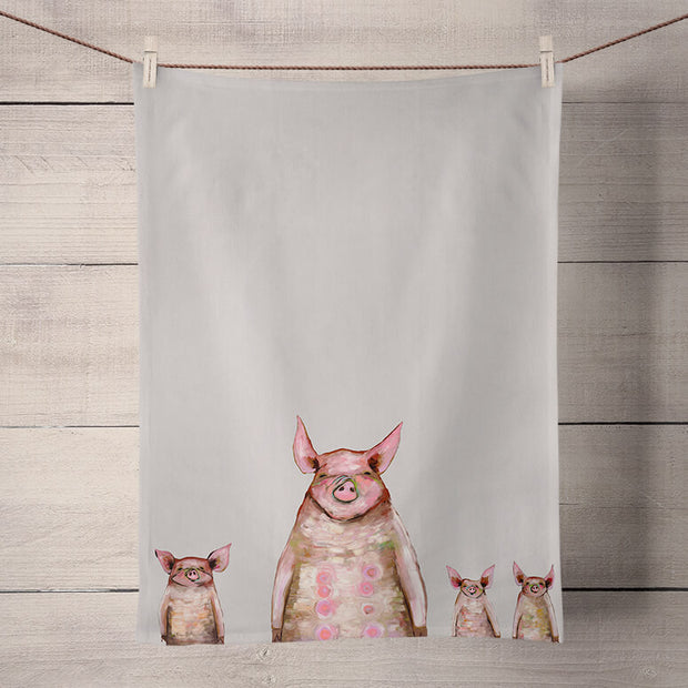 Four Piggies In A Row Tea Towel