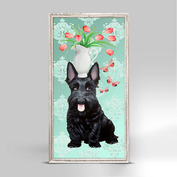 Garden Scottie Mini Framed Canvas 5x10