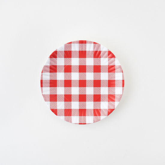 Red Gingham Plate, Melamine, 7.5in