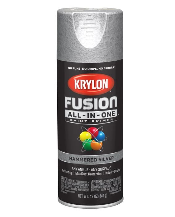 Krylon Fusion All-In-One Hammered Silver Paint + Primer Spray Paint 12 oz.