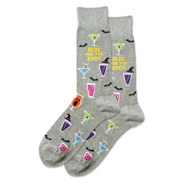 Men's Here For The Boos Crew Socks - Grey Heather