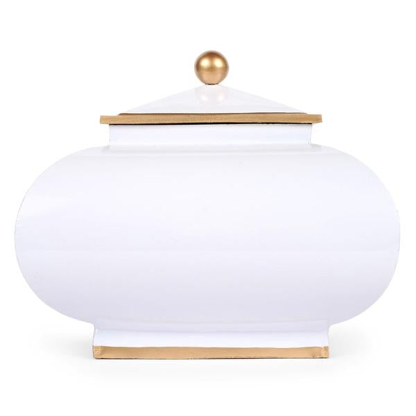 Squash Pot with Lid - White with Gold