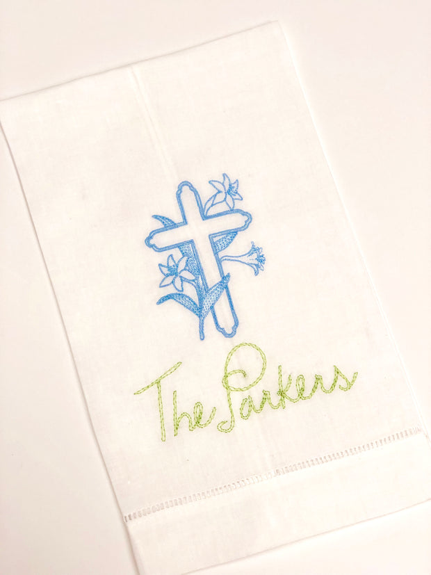 Linen Hemstitched Guest Towel - White
