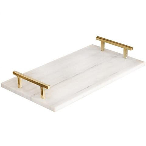Marble Serving Tray with Gold Handles