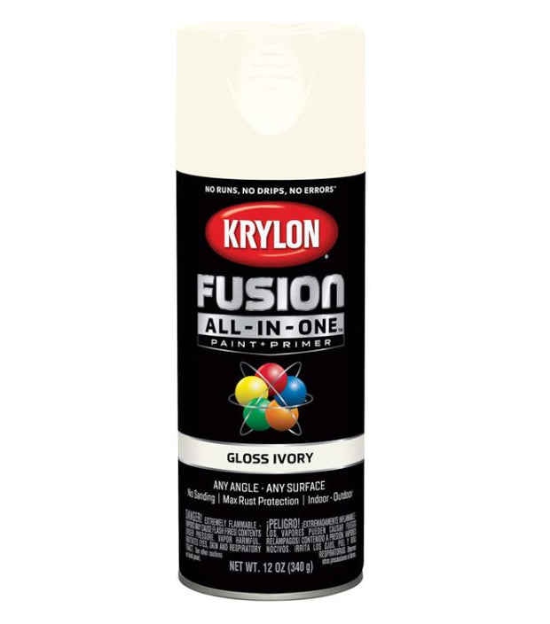 Krylon Fusion All-In-One Gloss Ivory Paint + Primer Spray Paint 12 oz.