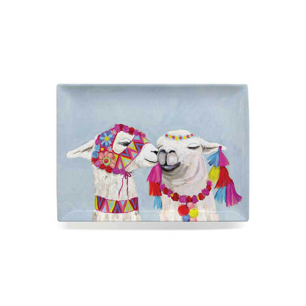 Llama Pair With Poms - Soft Blue Decorative Dish