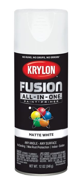 Krylon Fusion All-In-One Matte White Paint + Primer Spray Paint 12 oz.