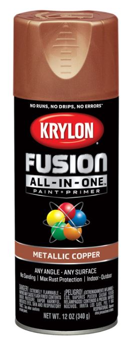 Krylon Fusion All-In-One Metallic Copper Paint + Primer Spray Paint 12 oz.