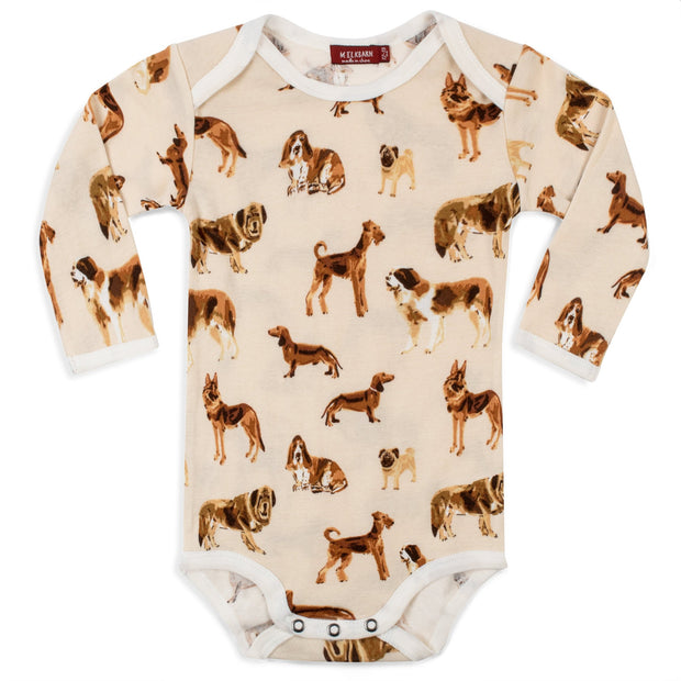 Milkbarn Long Sleeve One Piece in Natural Dog 12-18M