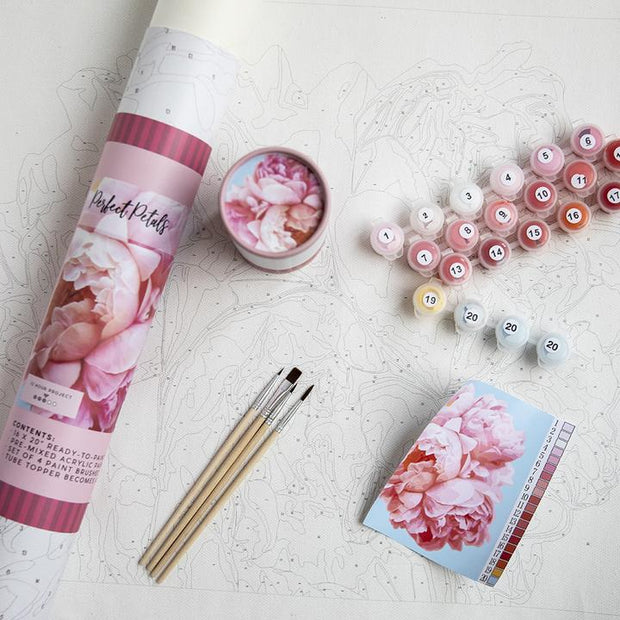 Paint by Numbers Canvas Kit - Perfect Petals Scene