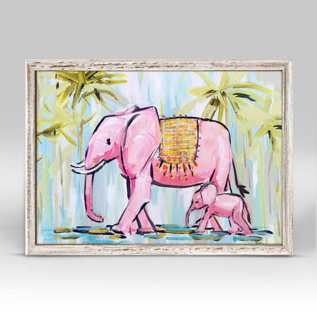 Pink Elephants Mini Framed Canvas 7x5