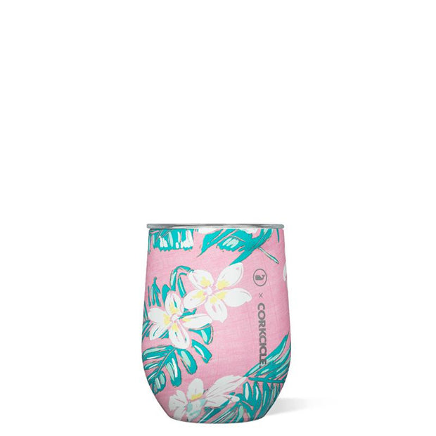 Corkcicle Stemless 12oz. - Vineyard Vines Pink Tropical Flowers