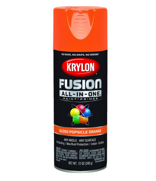 Krylon Fusion All-In-One Gloss Popsicle Orange Paint + Primer Spray Paint 12 oz.
