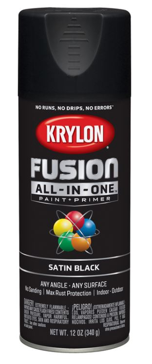 Krylon Fusion All-In-One Satin Black Paint + Primer Spray Paint 12 oz.