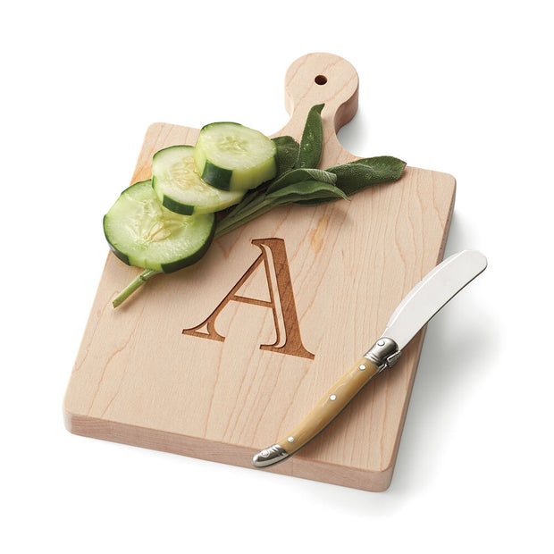 Single Initial Maple Wood Cheeseboard with Spreader
