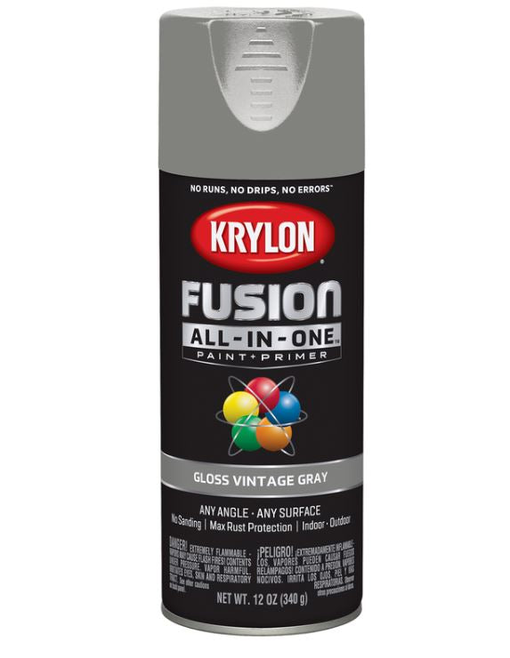 Krylon Fusion All-In-One Gloss Vintage Gray Paint + Primer Spray Paint 12 oz.