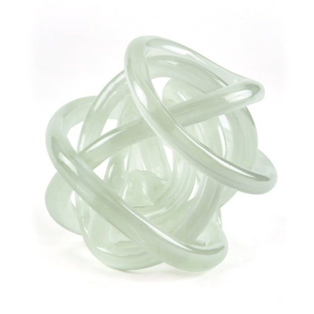 Hand Blown Glass Knot - White
