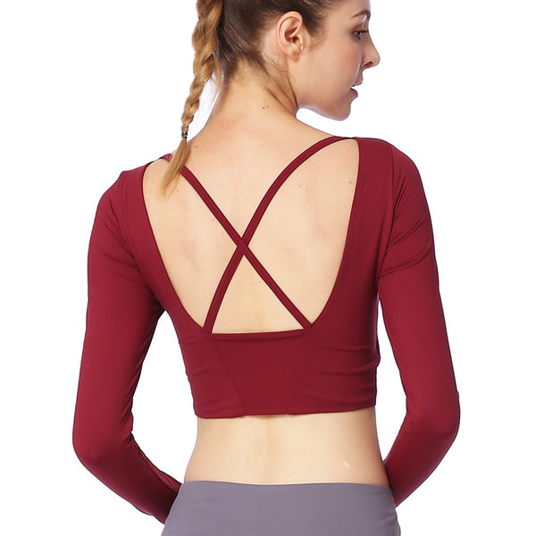 Women's Open Back Yoga Top Padded Tank Top Sports Fashion Elastane Tee / T-shirt Sweatshirt Top Yoga Fitness Gym Workout Long Sleeve Activewear Breathable Quick Dry Sweat-wicking Stretchy