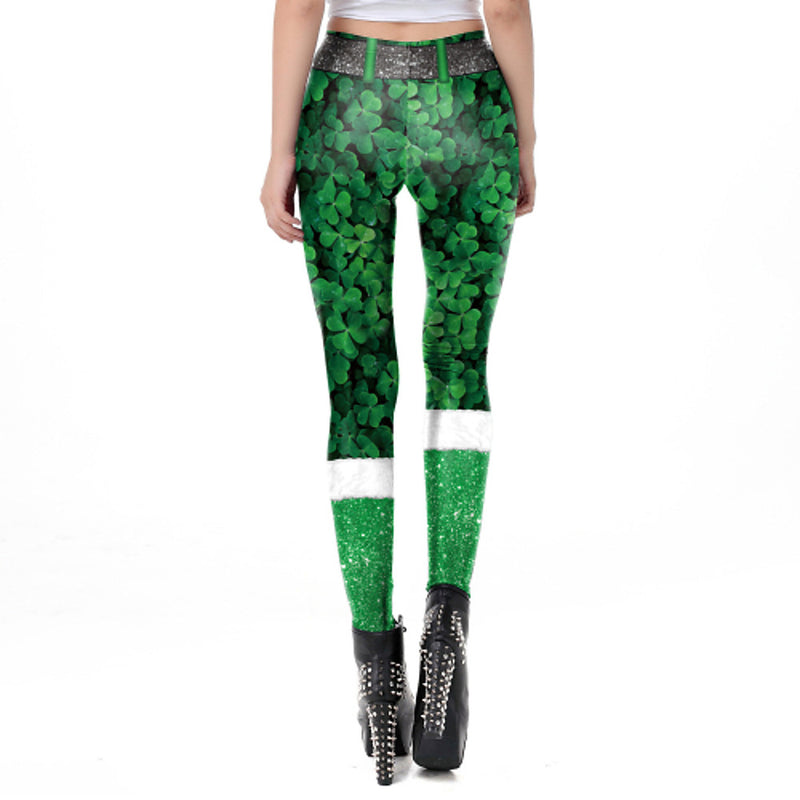 Women's Special Occasion / Causal Basic Legging - Floral / Plaid, Print Mid Waist Green M L XL / Slim