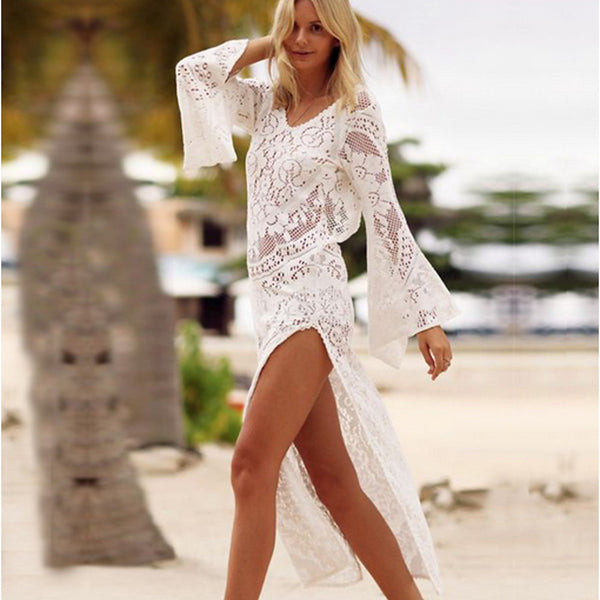 Women's Plunging Neck White Skirt Cover-Up Swimwear - Solid Colored Lace S M L White / Sexy