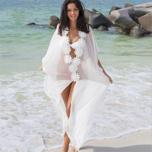 Women's White Cover-Up Swimwear - Solid Colored White Mesh One-Size White