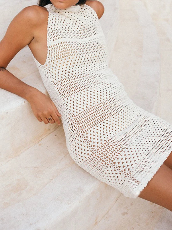 Women's Crochet White Cover-Up Swimwear - Solid Colored Cotton One-Size White