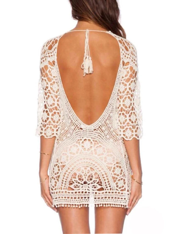 Women's Boho White Cover-Up Swimwear - Solid Colored Lace Backless, Cotton One-Size White / Double Strap