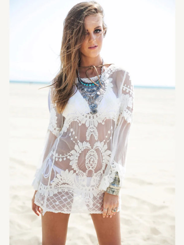 Women's Lace Cream Dress Cover-Up Swimwear - Solid Colored Lace, Lace One-Size Cream / Wireless / Padless / Sexy