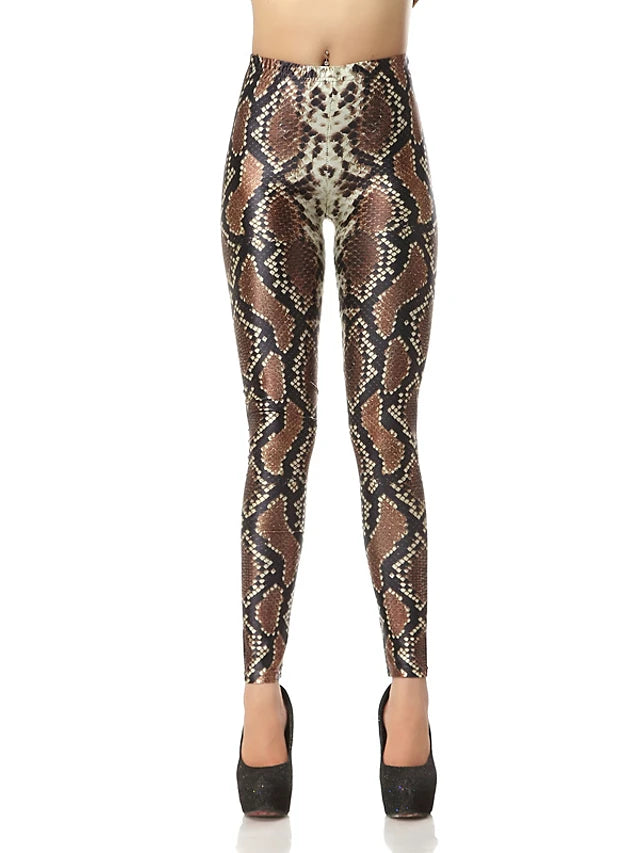 Women's Causal / Sports Basic Legging - Leopard, Print Mid Waist Brown M L XL / Slim