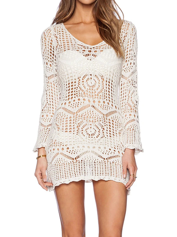Women's Boho White Cover-Up Swimwear - Solid Colored Lace One-Size White / Wireless / Padless
