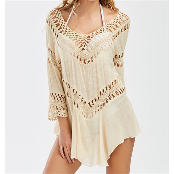 Women's Boho White Black Beige Cover-Up Swimwear - Solid Colored One-Size White