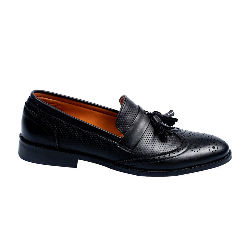 NICHE Black Semi Brogue Tassel Loafer