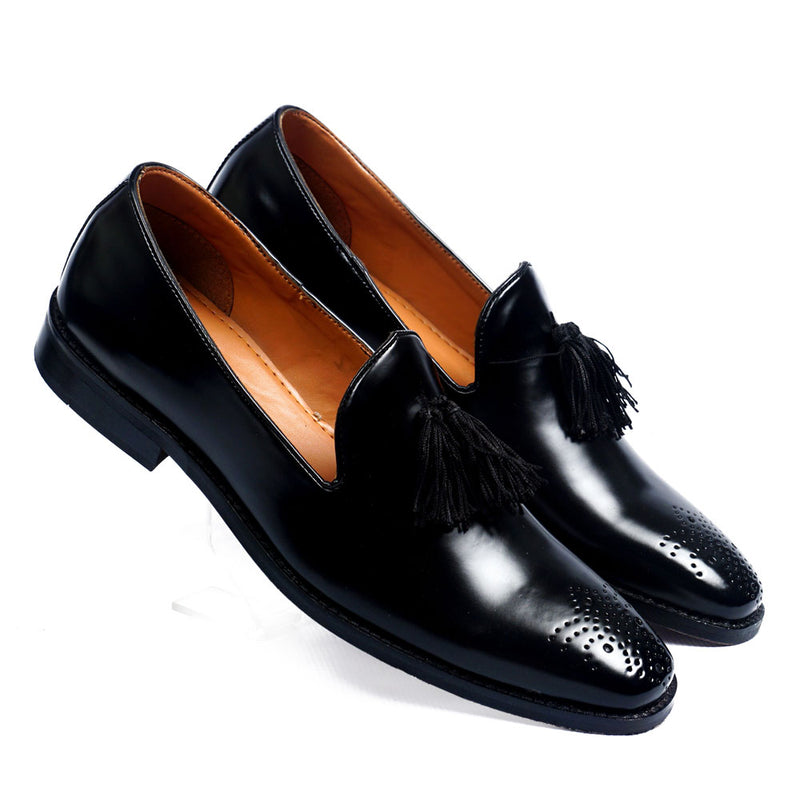 NICHE Black Threaded Tassel Loafers