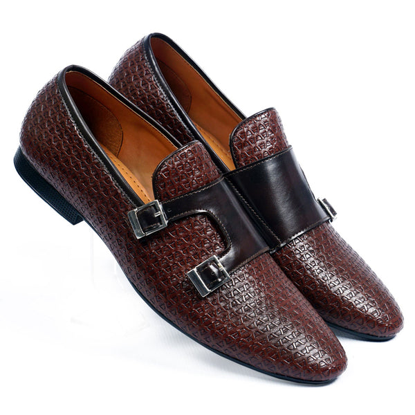 NICHE Brown Luxuriant Double Monk SLIP-ONS