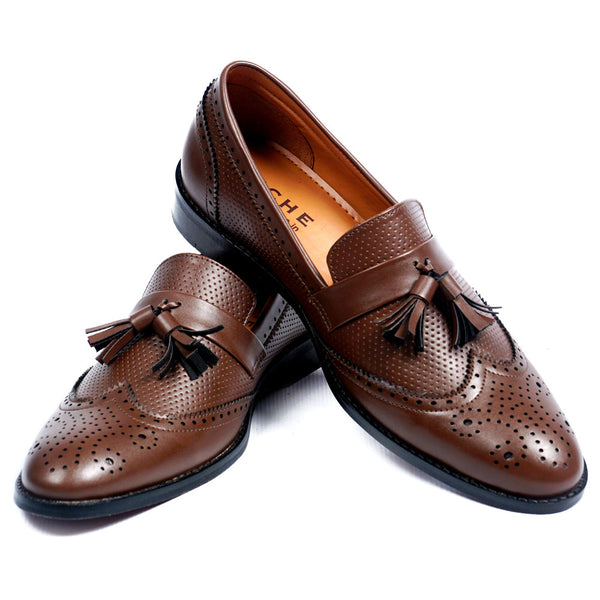 NICHE Brown Semi Brogue Tassel Loafer