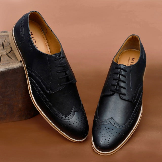 NICHE Black Semi Brogue Lace Ups