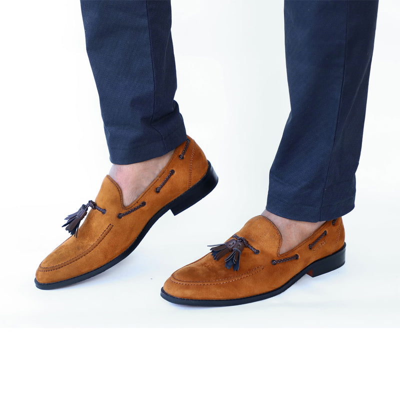 NICHE Suede Tan Tassel Loafer