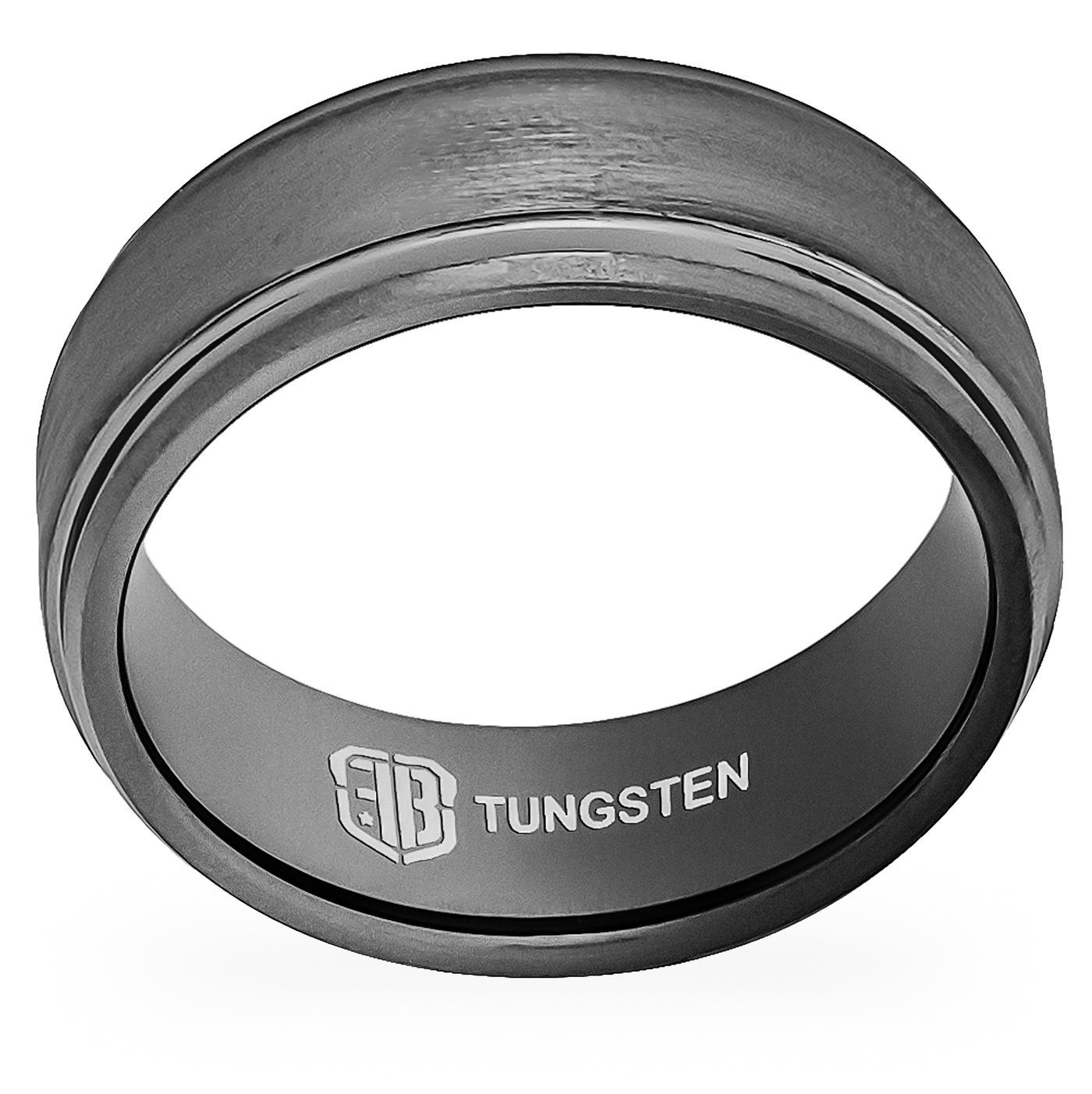 Gunmetal finish tungsten wedding band