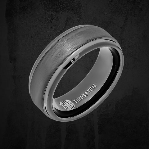 Gray tungsten ring on black background