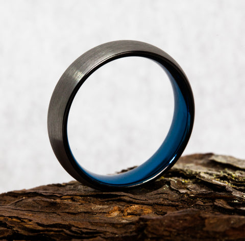 tungsten ring with blue inlay