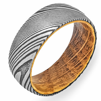 White Oak Whiskey Barrel + Damascus Steel - Men's Wood Wedding Band Tungsten Mens Wedding Band Foxtrot Band's