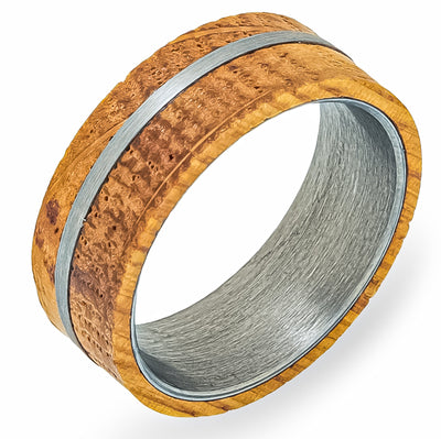 White Oak Whiskey Barrel + Tungsten - Men's Wood Wedding Band Tungsten Mens Wedding Band Foxtrot Band's