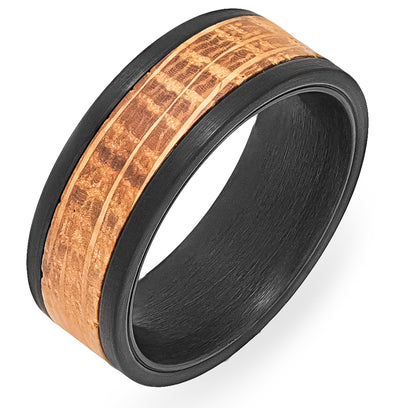 Whiskey Barrel White Oak + Black Tungsten - Men's Wood Wedding Band Tungsten Mens Wedding Band Foxtrot Band's