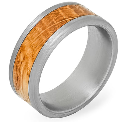 Whiskey Barrel White Oak + Silver Tungsten - Men's Wood Wedding Band Tungsten Mens Wedding Band Foxtrot Band's