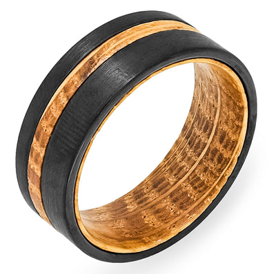 White Oak Whiskey Barrel + Black Tungsten - Men's Wood Wedding Band Tungsten Mens Wedding Band Foxtrot Band's