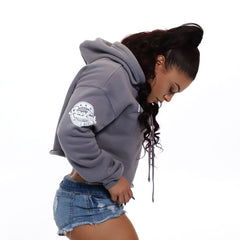 Girly With Power [Women's Crop Hoody]<br> (Grey)<br> PRE-ORDER! (ships 4/26-5/3)